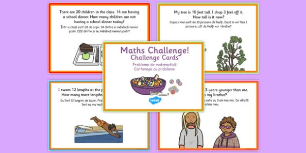 KS1 Subtraction Challenge Cards Romanian Translation - romanian, subtract, challenges, card
