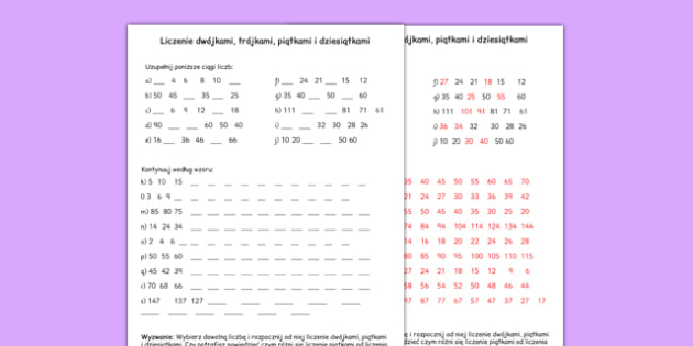 Arkusz Liczenie co 2, 3, 5 i 10 po polsku - matematyka, worksheet