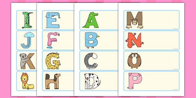 Editable Animal Alphabet Drawer Peg Name Labels - animal, alphabet, labels