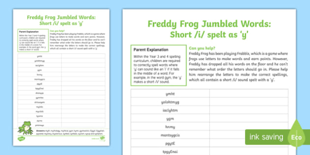 Short /i/ spelt as 'y' Freddy Frog Jumbled Words Activity Sheet