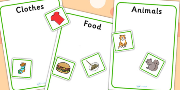 Animal Clothes And Food Sorting Activity No Visual Support