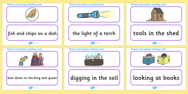 Phase 3 Captions And Pictures Matching Cards - word cards, matching activity, captions, pictures, matching, phase 3, phase three, matching cards, DfES Letters and Sounds, Letters and sounds