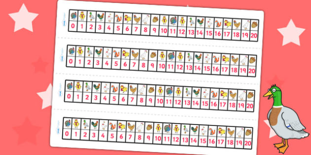 Chicken Licken Number Track 0 20 - counting aid, count, stories