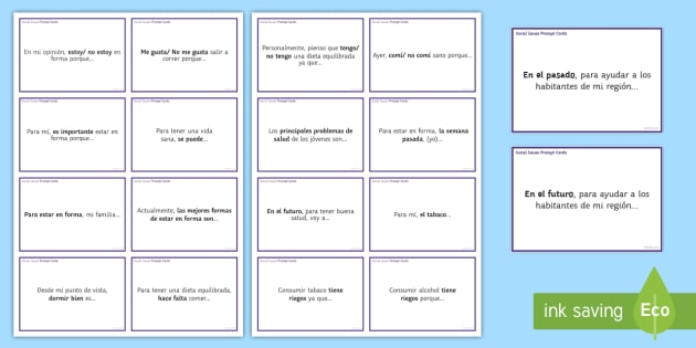 General Conversation Social Issues Question Prompt Cards Spanish - Spanish Speaking Practice, social issues, healthy diet, alcohol, smoking, prompt cards