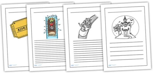 Theme Park Writing Frames - theme park, writing, write, frame