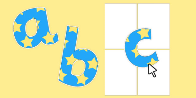 Editable Blue with Yellow Stars Alphabet Numbers and Symbols