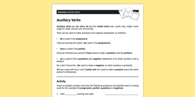 KS3 English Curriculum Auxiliary Verbs Activity Sheet - ks3, english, curriculum, activity sheet, auxiliary verbs, grammar, worksheet