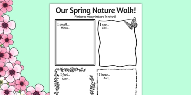 Our Spring Nature Walk Writing Frame Romanian Translation - romanian, spring, nature, walk