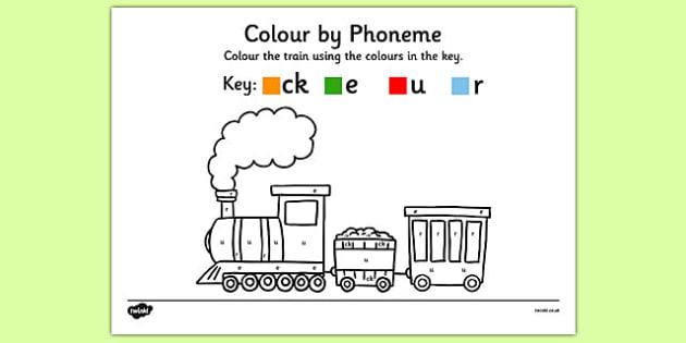 Colour by Phoneme Train Phase 2 ck e u r - colour, phonemes, train, phase 2, satpin