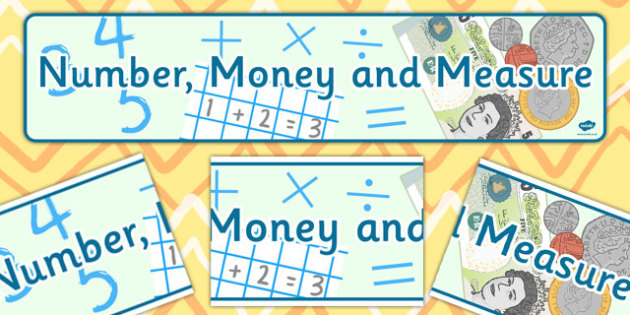 Number Money and Measure Display Banner CfE - display banner, cfe