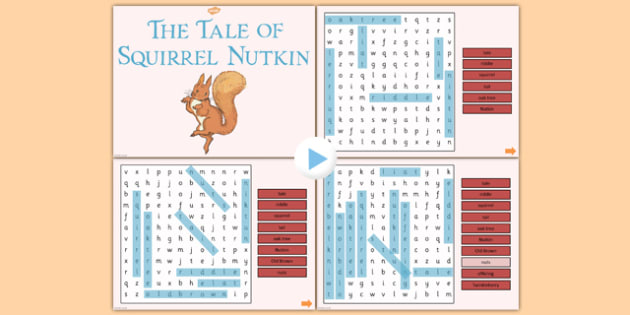 The Tale of Squirrel Nutkin Interactive Wordsearch - squirrel nutkin
