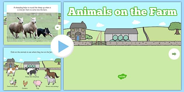 Animals on the Farm EYFS PowerPoint - eggs, sheep, horse, hen, chicken, donkey, cow, pig, farmyard