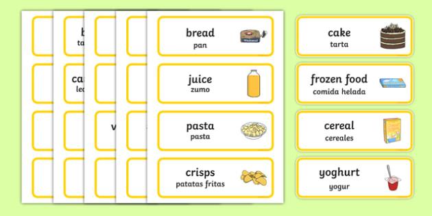 Supermarket Word Cards Spanish Translation-translation