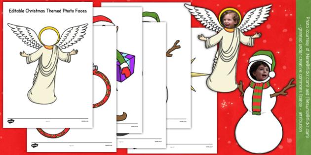 Editable Christmas Themed Photo Faces - editable, christmas, themed, photo, faces