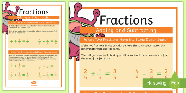 Fractions, Addition and Subtraction Display Poster - display poster, display, poster, addition, subtraction, fractions, maths, mathematics