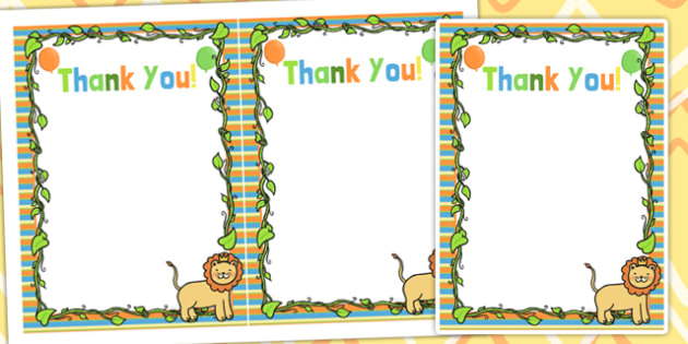 Jungle Themed Birthday Party Thank You Cards - parties, birthday