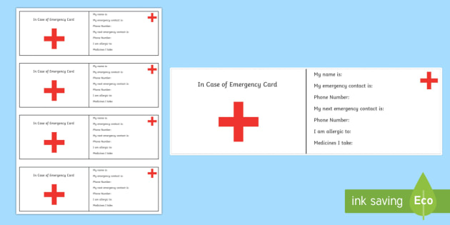 In Case of Emgergency Information Cards - ICE, in case of emergency, out and about, independence