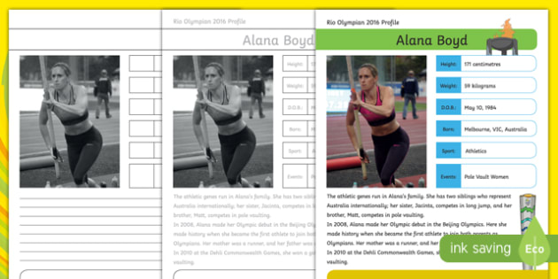 Australian Rio Olympian Alana Boyd Handwriting Practice Activity Sheet-Australia, worksheet