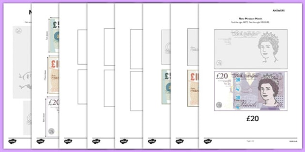 Maths Intervention Note Measure Match - SEN, special needs, maths, money, counting money, recognising money, adding money, coins, notes