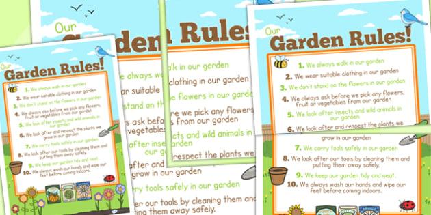 Large School Garden Rule Poster - class management, behaviour