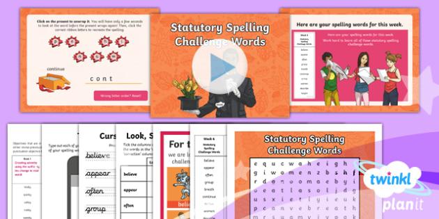 PlanIt Y3 Term 1B W6: Statutory Spelling Challenge Words Spelling Pack - Spelling Packs, weekly, SPaG, list, spelling, y3, Year 3, PlanIt, GPS, statutory, common exception w