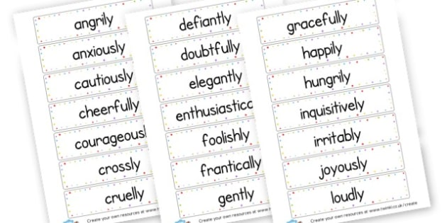 Adverb Word Cards - KS2 Verbs and Adverbs Primary Resources, Verbs, Adverbs, KS2 Words
