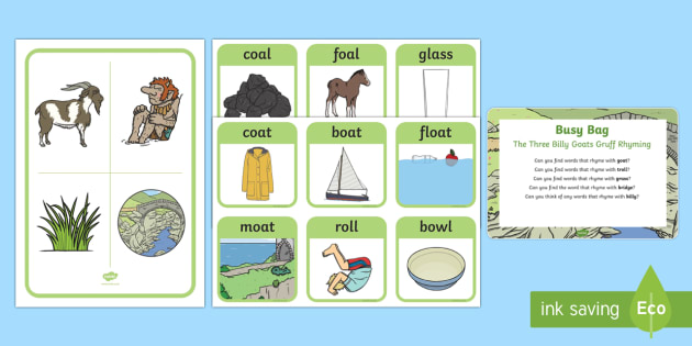The Three Billy Goats Gruff Rhyming Busy Bag Prompt Card and Resource Pack