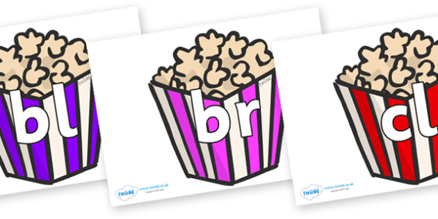 Initial Letter Blends on Popcorn - Initial Letters, initial letter, letter blend, letter blends, consonant, consonants, digraph, trigraph, literacy, alphabet, letters, foundation stage literacy