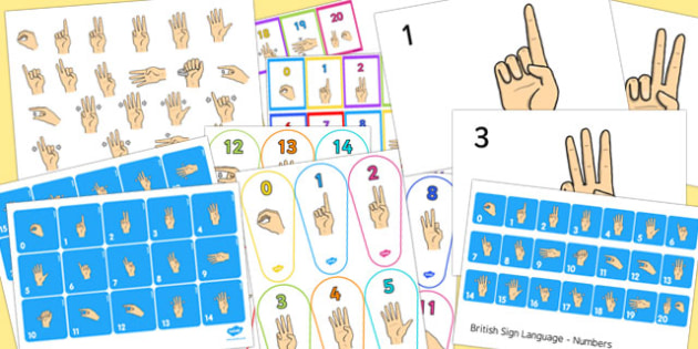 0-20 British Sign Language Resource Pack (Signer's View) - resource, pack, sign