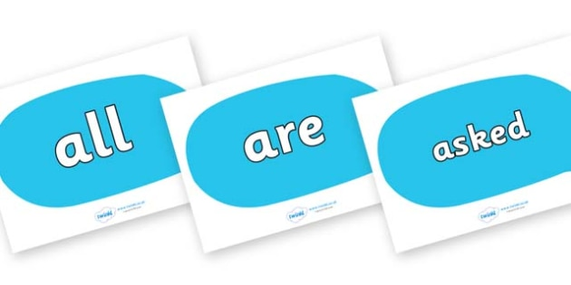 Tricky Words on Speech Bubbles - Tricky words, DfES Letters and Sounds, Letters and sounds, display, words