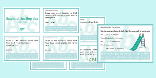New Zealand Essential Spelling List 2 Challenge Cards