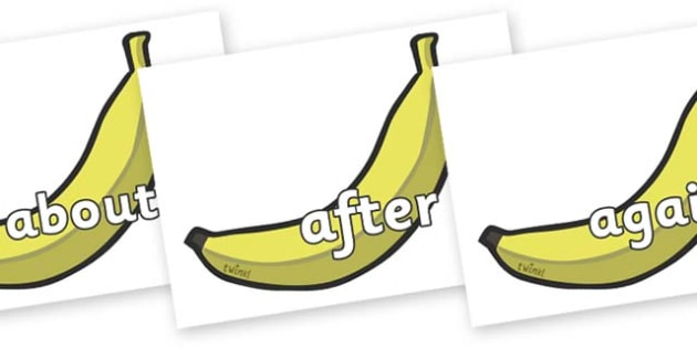 KS1 Keywords on Bananas - KS1, CLL, Communication language and literacy, Display, Key words, high frequency words, foundation stage literacy, DfES Letters and Sounds, Letters and Sounds, spelling