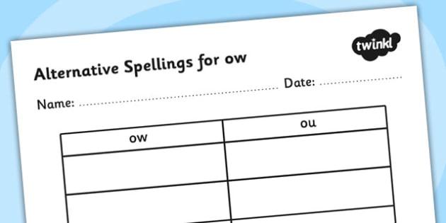 Alternative Spellings for ow Table Worksheet - alternative spellings for ow, table worksheet pack, table worksheet, ow worksheet