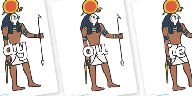 Phase 5 Phonemes on Egyptian Figures - Phonemes, phoneme, Phase 5, Phase five, Foundation, Literacy, Letters and Sounds, DfES, display
