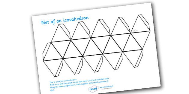 Net Of An Icosahedron - net, icosahedron, platonic solids, activity, building, creative