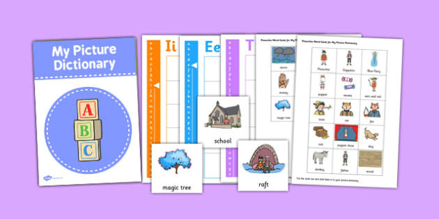 Pinocchio Picture Dictionary and Word Card Set - pictures, words