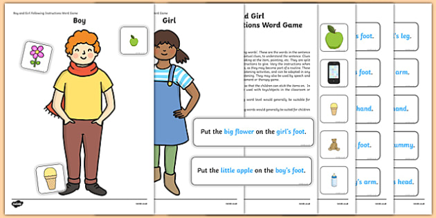 Boy and Girl Following Instructions – 4 ICWs Game