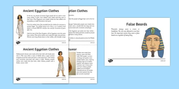 Egyptian Fashion Information Sheets - Cfe, Social Studies, Ancient Egypt, Egyptian Fashion