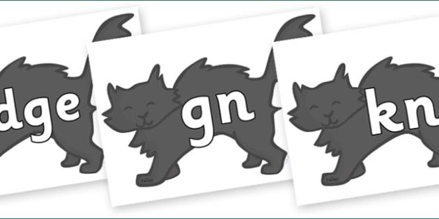 Silent Letters on Black Cats - Silent Letters, silent letter, letter blend, consonant, consonants, digraph, trigraph, A-Z letters, literacy, alphabet, letters, alternative sounds