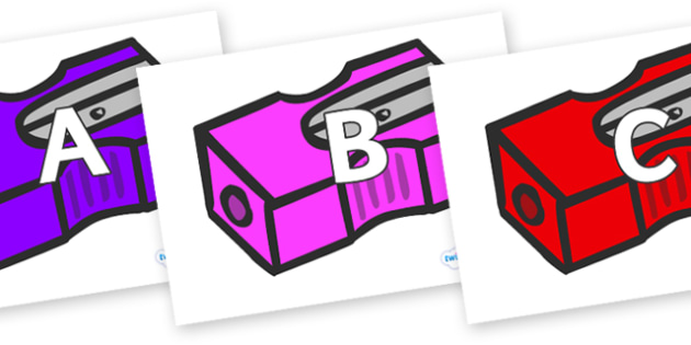 A-Z Alphabet on Pencil Sharpeners - A-Z, A4, display, Alphabet frieze, Display letters, Letter posters, A-Z letters, Alphabet flashcards