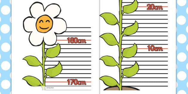 Flower Height Chart - Height chart, height display, measuring chart, measure, child height, flower chart, flower display, tall, short