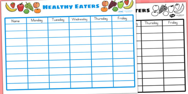 Healthy Eating Class Chart - food, health, classroom display