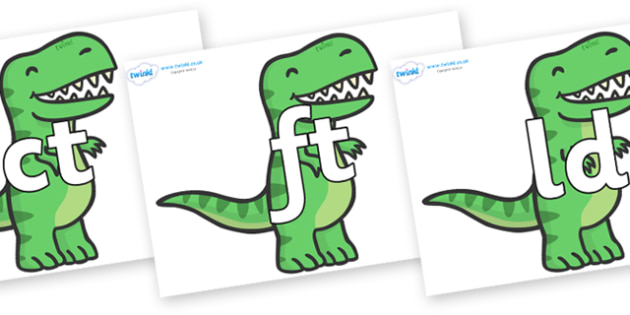 Final Letter Blends on T Rex Dinosaurs - Final Letters, final letter, letter blend, letter blends, consonant, consonants, digraph, trigraph, literacy, alphabet, letters, foundation stage literacy