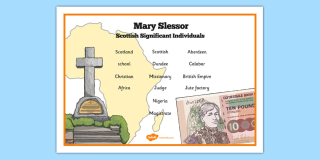 Scottish Significant Individuals Mary Slessor Word Mat - Scottish significant individual, Christian, missionary, Nigeria