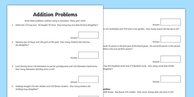 Addition Word Problems Activity Sheet - canada, Mathematics, addition, subtraction, transformations, translation, reflection, rotation, angles, geometry, fractions, worksheet