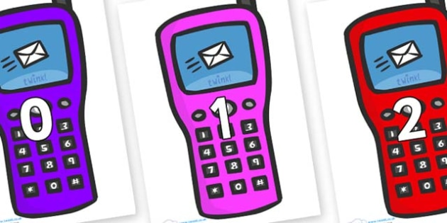 Numbers 0-31 on Phones - 0-31, foundation stage numeracy, Number recognition, Number flashcards, counting, number frieze, Display numbers, number posters