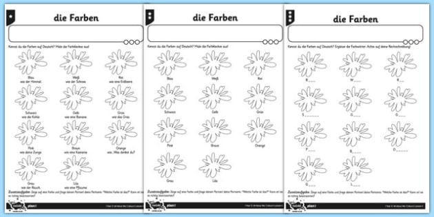 Colours Activity Sheet German - colour, germany, de, deutsch, colours, rainbow, vocabulary, farbe, regenbogen, rot, yello, grun, blau, lila, worksheet
