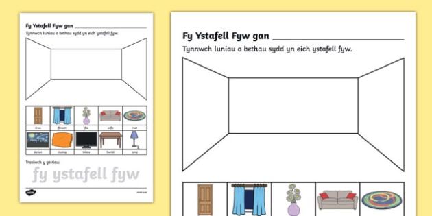 Taflen Waith Fy Ystafell Fyw Taflen Weithgaredd-Welsh