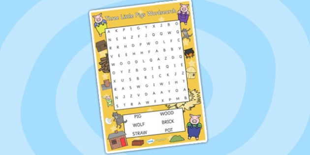 The Three Little Pigs Wordsearch - the three little pigs, wordsearch, word games, themed wordsearch, themed game, literacy, english, three little pigs game