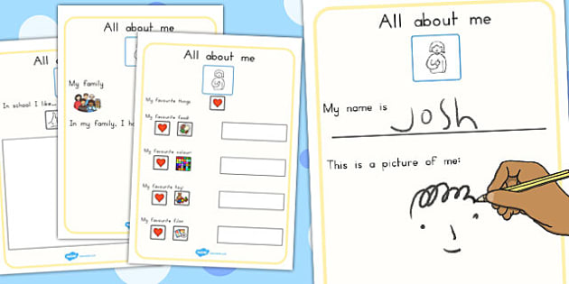All About Me Book - me, myself, ourselves, people, new term, sen